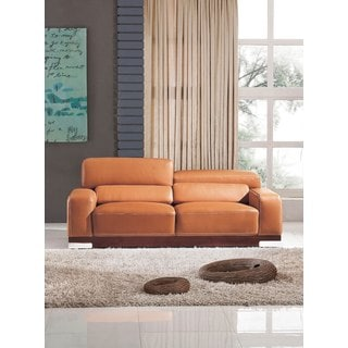 Luca Home Contemporary Honey Italian Leather Sofa