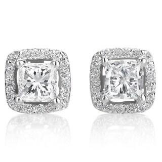 SummerRose 14k White Gold 1ct TDW Diamond Halo Princess Stud Earrings (H-I, SI1-SI2)