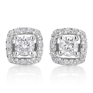 SummerRose 14k White Gold 1/2ct TDW Diamond Halo Stud Earrings (H-I, SI1-SI2)