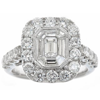 14k White Gold 2 2/5ct TDW Diamond Square Ring (H-I, SI1-SI2)
