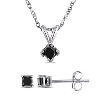 Miadora 10k White Gold 1/2ct TDW Black Diamond Set of Necklace and Earrings