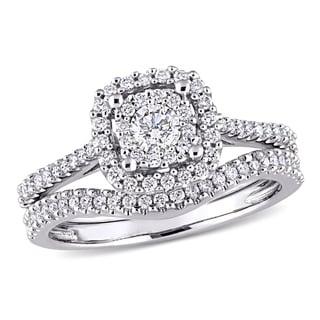Miadora 10k White Gold 5/8ct TDW Diamond Halo Bridal Ring Set (G-H, I1-I2)