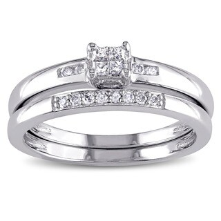 Miadora Sterling Silver 1/6ct TDW Princess-cut Diamond Bridal Ring Set (G-H, I2-I3)
