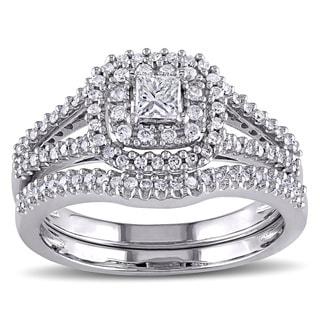 Miadora 14k White Gold 3/5ct TDW Certified Diamond Halo Bridal Ring Set (G-H, I1-I2)
