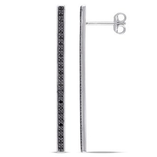 Miadora Sterling Silver 1/4ct TDW Black Diamond Linear Stick Ear Pin Earrings