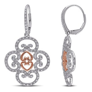 Miadora 14k Two-tone White and Rose Gold 3/4ct TDW Diamond Dangle Earrings (G-H, SI1-SI2)