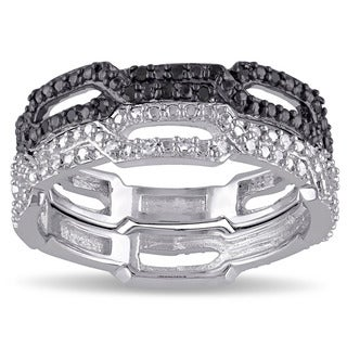 Haylee Jewels Sterling Silver 1/6ct TDW Black and White Diamond 2-Piece Stackable Ring Set