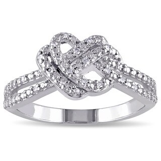 Miadora Sterling Silver 1/10ct TDW Diamond Double Heart Knot Ring (G-H, I2-I3)