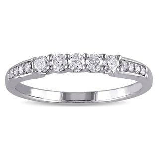 Miadora 10k White Gold 1/3ct TDW Diamond Anniversary Band (G-H, I1-I2)