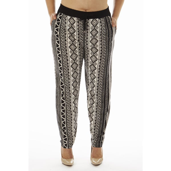 Golden Black Women's Plus Printed Knitted Jogger Pants