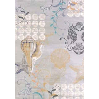"Tranquility Coastal Sea Shells Area Rug (5'3"" x 7'2"")"