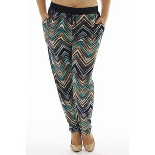Golden Black Women's Plus Size Zig Zag Printed Knitted Jogger Pants