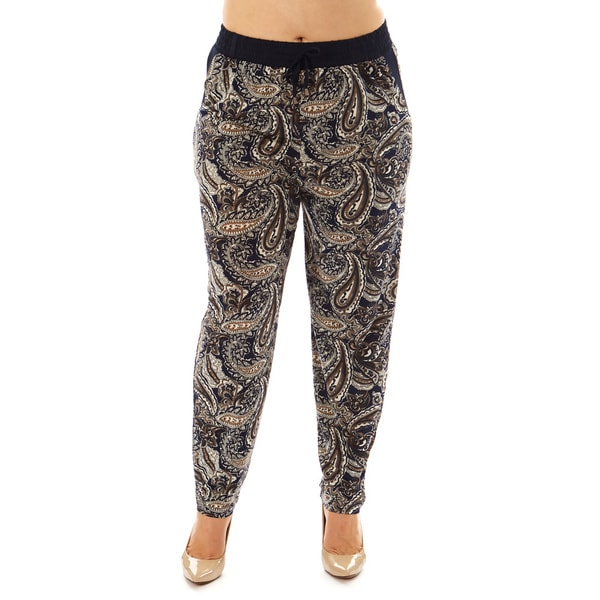 Golden Black Women's Plus Paisley Printed Knitted Jogger Pants