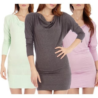Women's Batwing Knit Long Sleeve Tunic Dress (Pack of 3)