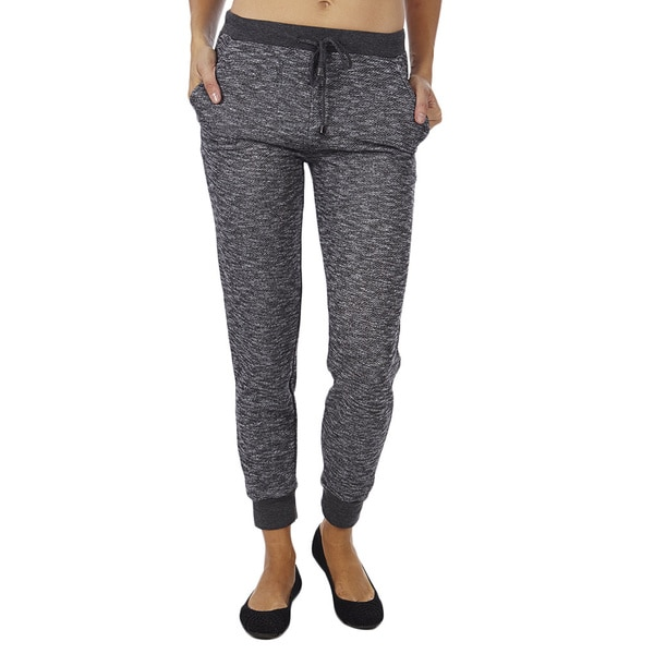 Women's Heather French Terry Bright Color Waistband Jogger Pants 15387979