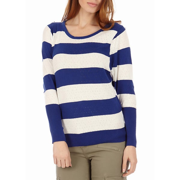 Juniors' Stripe Cotton Knit Pointelle Sweater