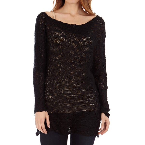 Women's Boatneck Dolman Sleeve Cotton Slub Tunic Pullover