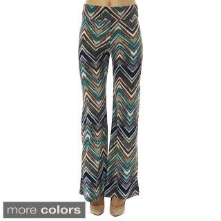 Women's Printed High Waisted Zig Zag Foldover Wide Leg Palazzo Pants