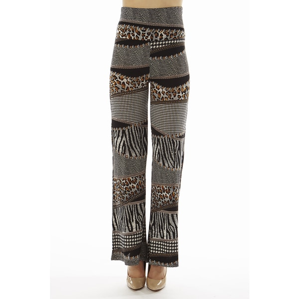 Women's Printed High Waisted Animal Print Foldover Wide Leg Palazzo Pants