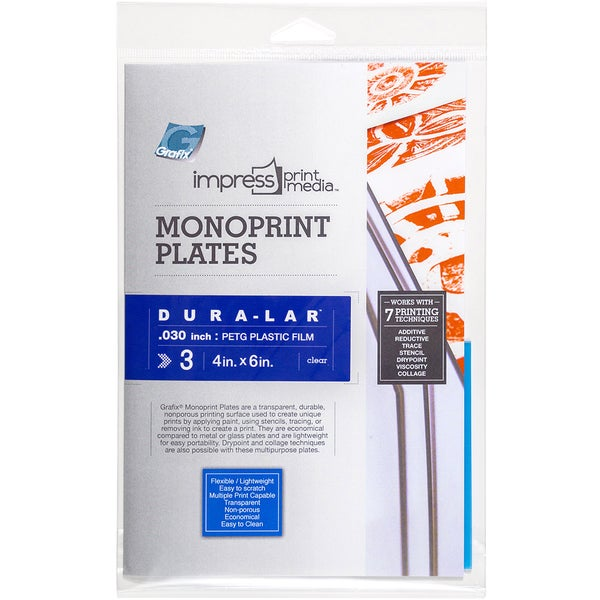 Impress Monoprint Plates 3/Pkg4inX6in