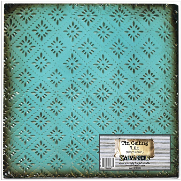 Salvaged Tin Ceiling TileBright Blue Rosette