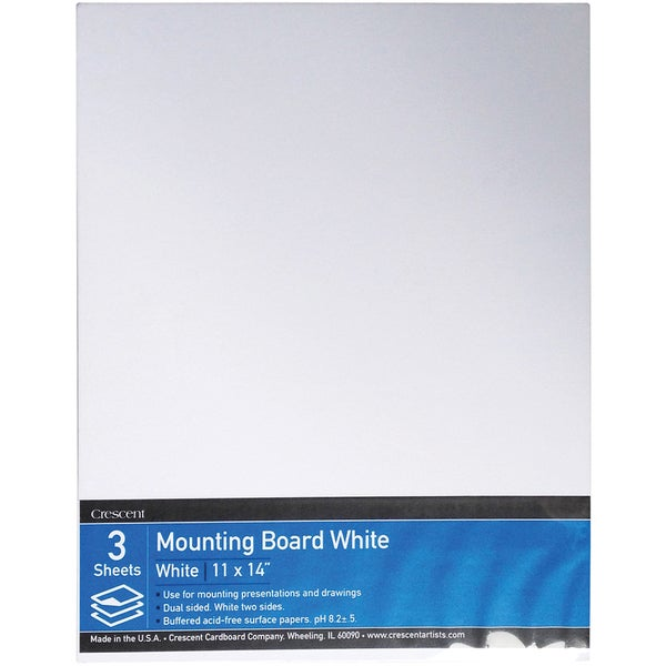 Crescent White Mounting Board Value Pack 3/Pkg11inX14in