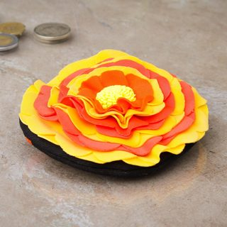 Handcrafted Cotton 'Yellow Andean Rose' Coin Purse (Peru)