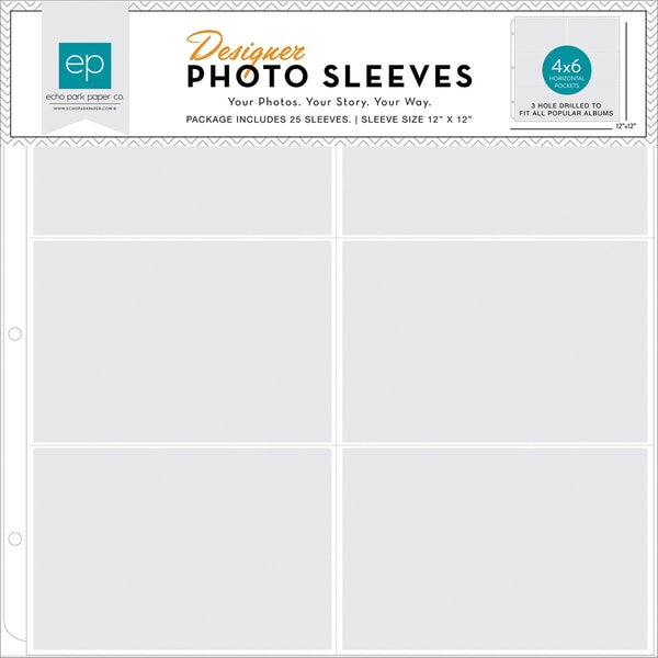 Photo Freedom Photo Sleeves Protectors 12inX12in 25/Pkg(6) 4inX6in Horizontal Pockets