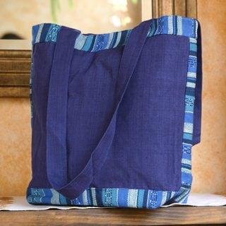 Handcrafted Cotton 'Sapphire Maya' Tote Bag (Guatemala)