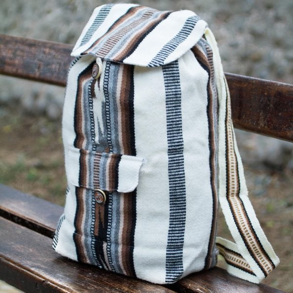 Alpaca Blend 'Boho Stripes' Backpack (Peru)