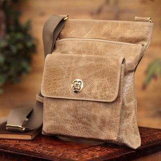 Handcrafted Leather 'Huacachina Traveler' Messenger Bag (Peru)