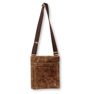 Handcrafted Leather 'Mancora Traveler' Messenger Bag (Peru)