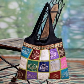 Block Print 'Festive India' Tote Handbag (India)