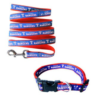 Genuine Texas Rangers Licensed Pet Collar and Leash Combo Set (2 piece) - For Small to Large Dogs