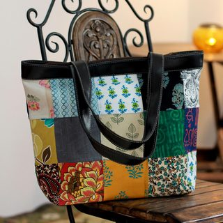 Recycled Cotton 'Eco-garden' Tote Handbag (India)