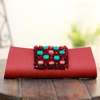 Beaded 'Red Radiance' Clutch Handbag (India)