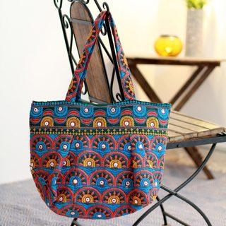 Cotton 'Delhi Sun' Embroidered Tote Handbag (India)