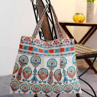 Cotton 'Fair in Gujarat' Embroidered Tote Handbag (India)