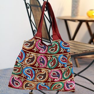 Embroidered 'Paisley Joy' Tote Handbag (India)