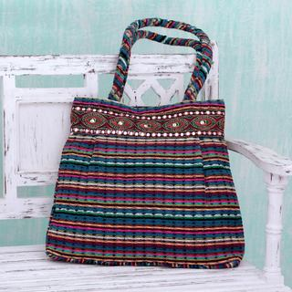 Handcrafted Cotton 'Twilight Rainbow' Shoulder Bag (India)