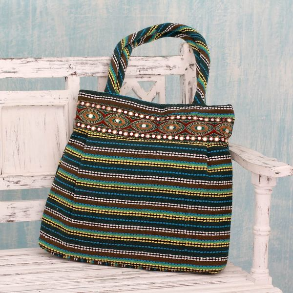 Handcrafted Cotton 'Gujarat Emerald Legacy' Shoulder Bag (India)