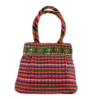 Handcrafted Cotton 'Dawn Rainbow' Shoulder Bag (India)