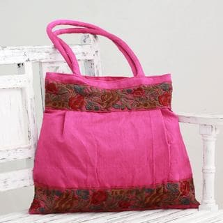 Embellished 'Floral Fuchsia' Shoulder Bag (India)