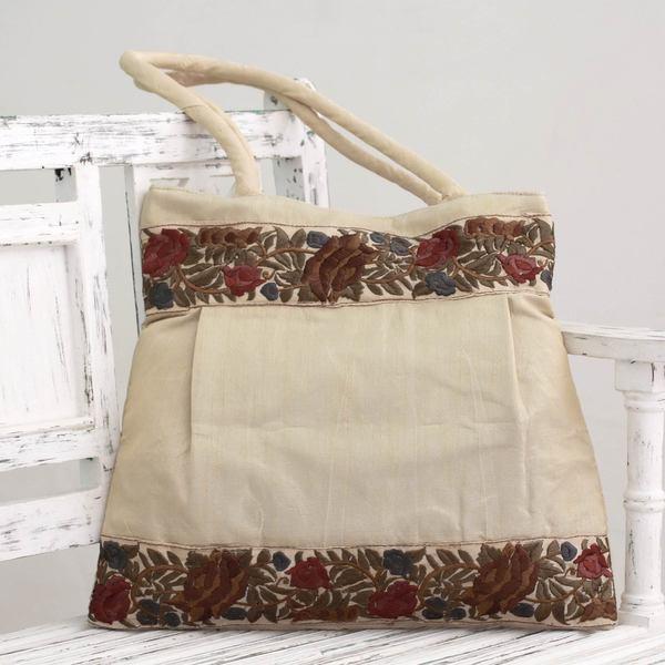 Embroidered 'Floral Beige' Shoulder Bag (India)
