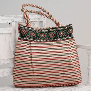 Embellished 'Beige Gujarat Legacy' Shoulder Bag (India)