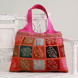 Embellished 'Fuchsia in Kutch' Tote Handbag (India)