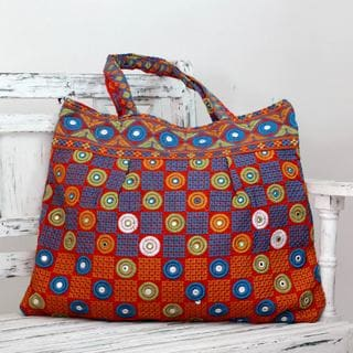 Cotton 'Gujarati Fanfare' Embroidered Tote Bag (India)