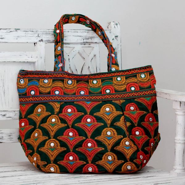 Cotton 'Kutch Fields' Embroidered Shoulder Bag (India)