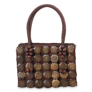 Handcrafted Coconut Shell 'Sunflower' Tote Handbag (Thailand)