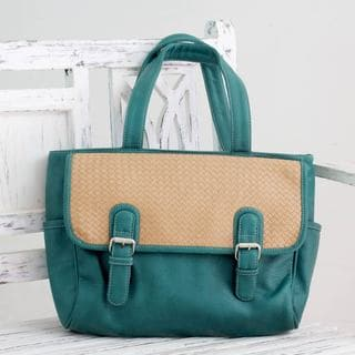 Buckle 'Woven Indian Teal' Tote Handbag (India)